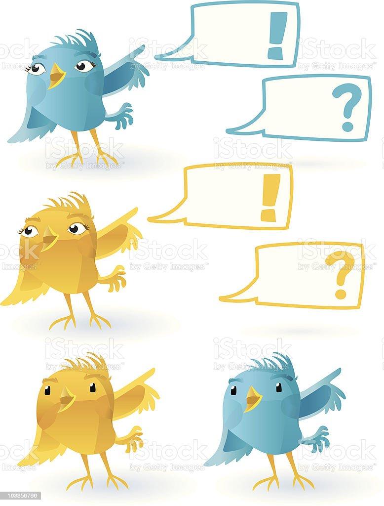 smiling Twitter Bird (with speechballoon). royalty-free stock vector art