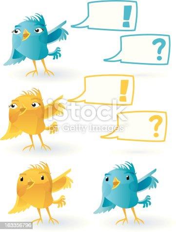 istock smiling Twitter Bird (with speechballoon). 163356796