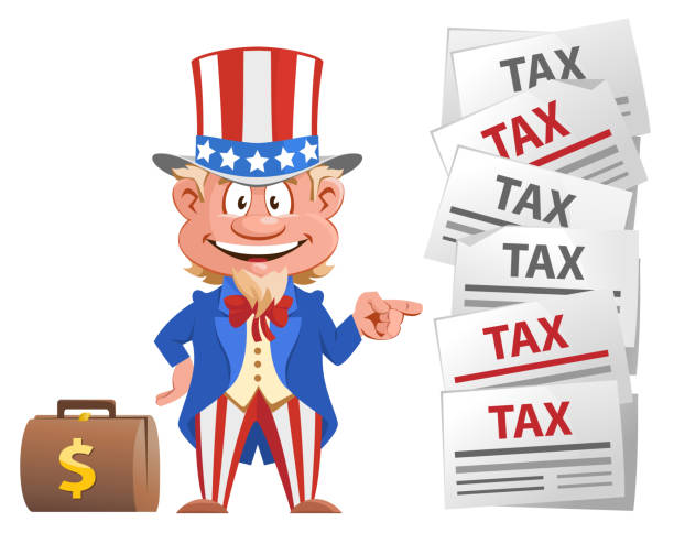 Smiling Uncle Sam points at the tax letters. Smiling Uncle Sam points at the tax letters. Cartoon styled vector illustration. On white background. uncle sam stock illustrations