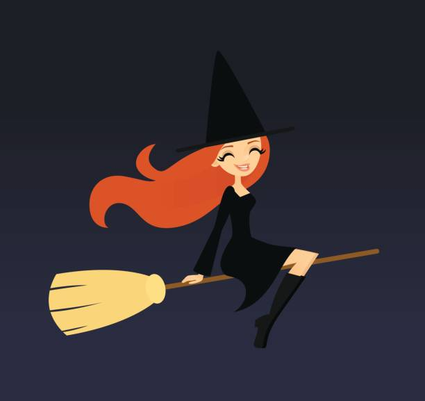 Smiling witch flying on a broom vector art illustration
