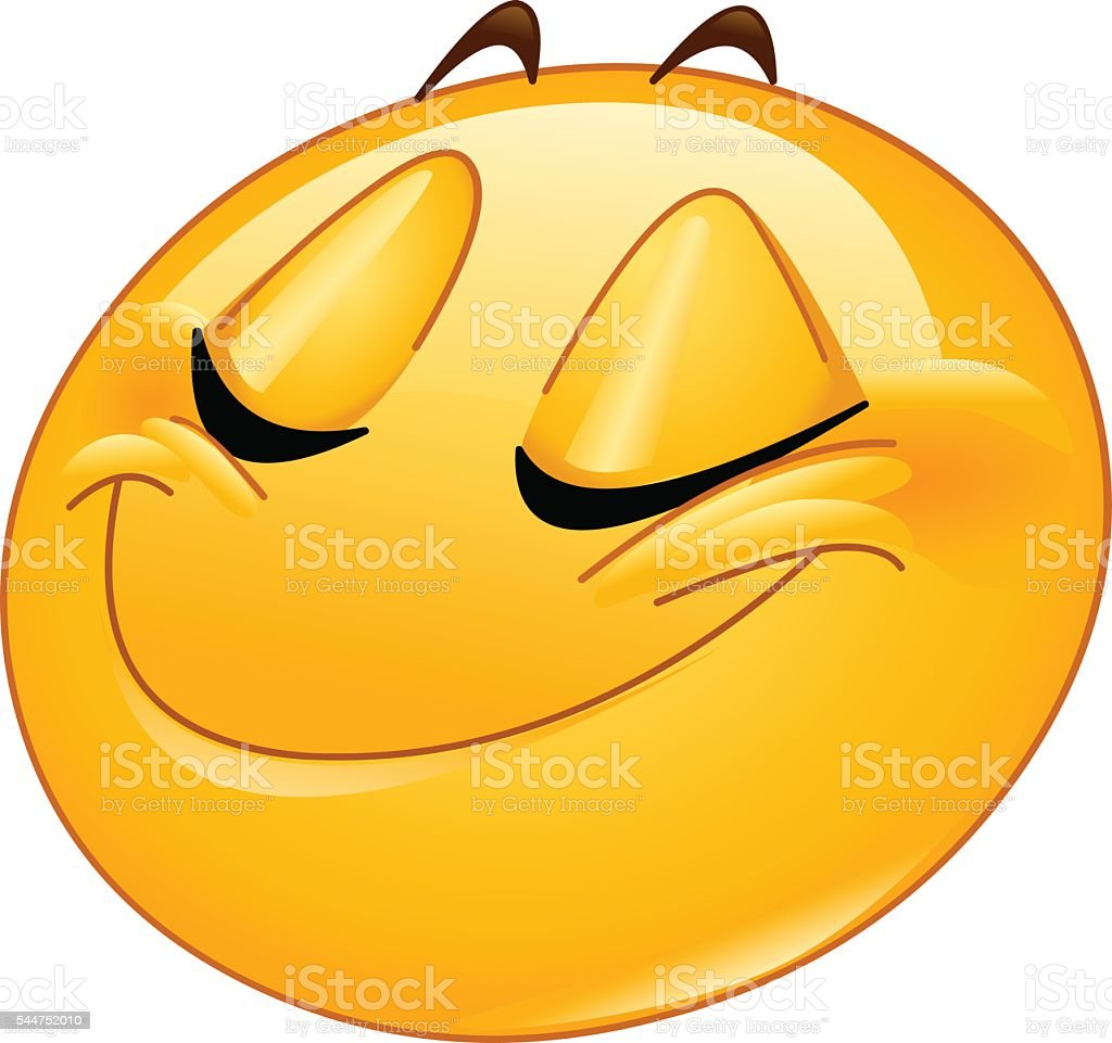 Smiling with closed eyes female emoticon vector art illustration
