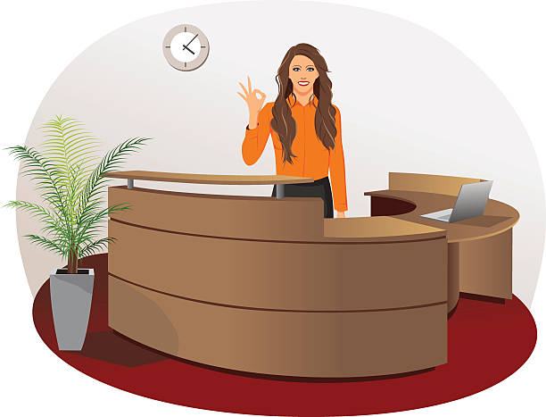 lächelnde frau im büro der rezeption - rezeptionseingang stock-grafiken, -clipart, -cartoons und -symbole