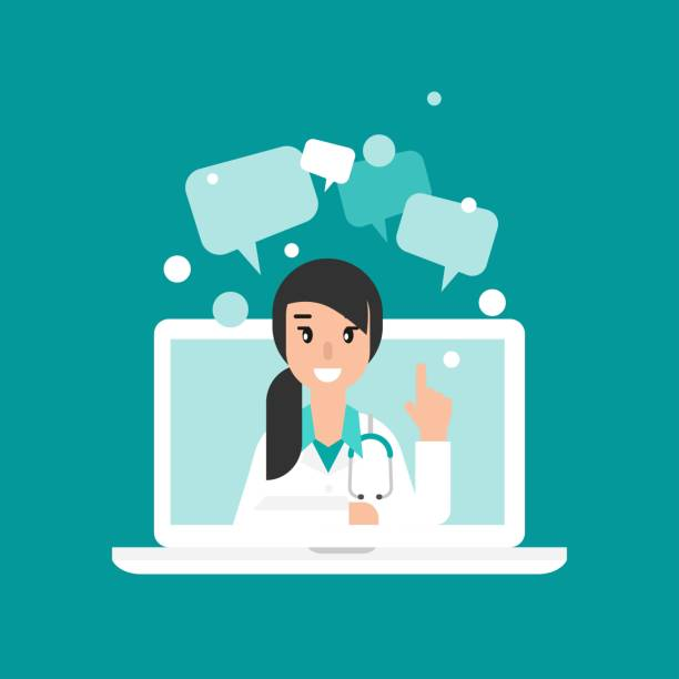 Smiling woman doctor on the laptop screen. Smiling woman doctor on the laptop screen. Medical internet consultation.  Healthcare consulting web service.  Hospital support online. Computer doctor. Ask a doctor. Vector flat illustration on blue pharmacist stock illustrations