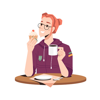 Smiling woman enjoys bakery cake with tea, coffee or cocoa isolated girl in glasses at table. Vector lady in hoodie drinking hot beverage, lunchtime. Fresh cupcake at female hands in cafe restaurant