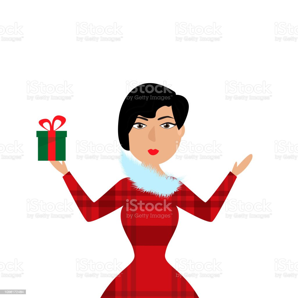 Lächelnde Frau Hält Weihnachtsgeschenk In Der Hand ...