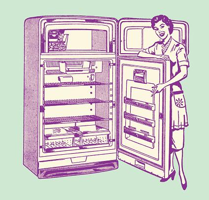 Smiling Woman Holding Open Refrigerator Door