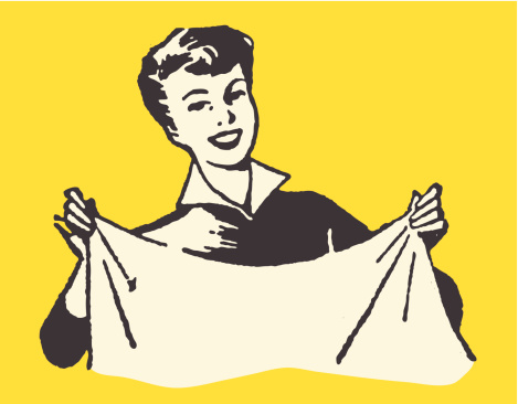 Smiling Woman Holding Sheet