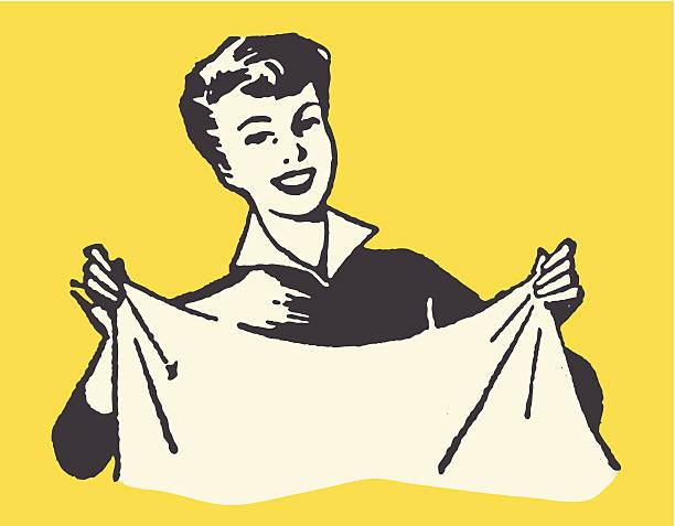 stockillustraties, clipart, cartoons en iconen met smiling woman holding sheet - vrouw schoonmaken