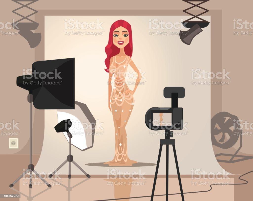 Smiling woman model character shooting векторная иллюстрация