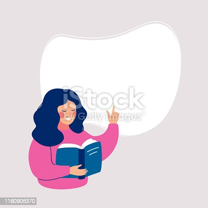 Smiling woman reading a book and points to a white background for text. Speech bubble above. Human character vector illustration.