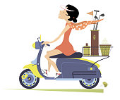 Smiling woman rides the scooter and goes to play golf isolated illustration