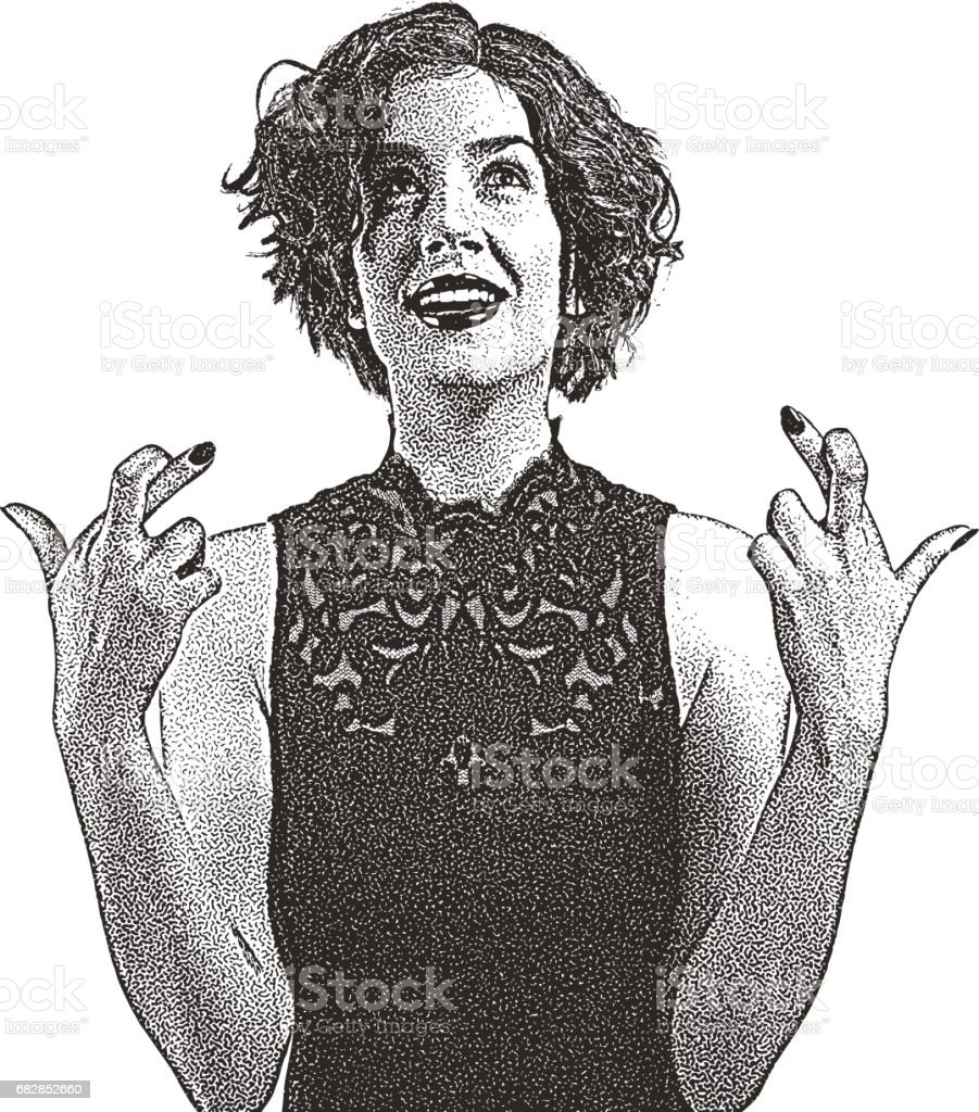 Smiling woman with fingers crossed gesture. Lizenzfreies smiling woman with fingers crossed gesture stock vektor art und mehr bilder von 25-29 jahre