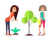 Smiling women taking care about plants, watering tree and bush, happy female farmers vector illustration isolated on white, cultivation of greenery