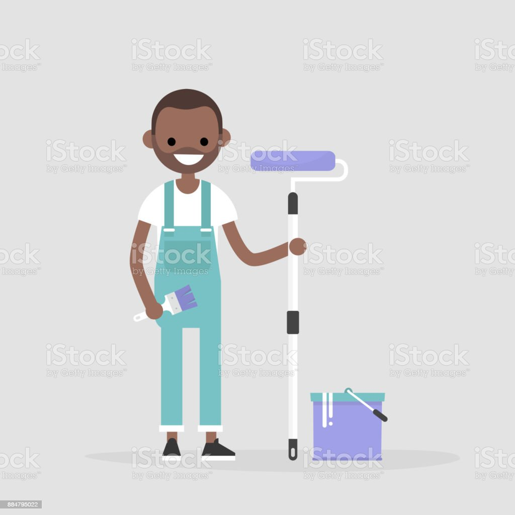 Smiling worker holding a paint roller. Renovating the house. Young character wearing a jumpsuit. Flat editable vector illustration, clip art vector art illustration