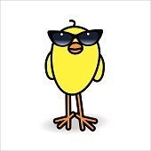Smiling Yellow Chick Wearing Ladies Black Sunglasses