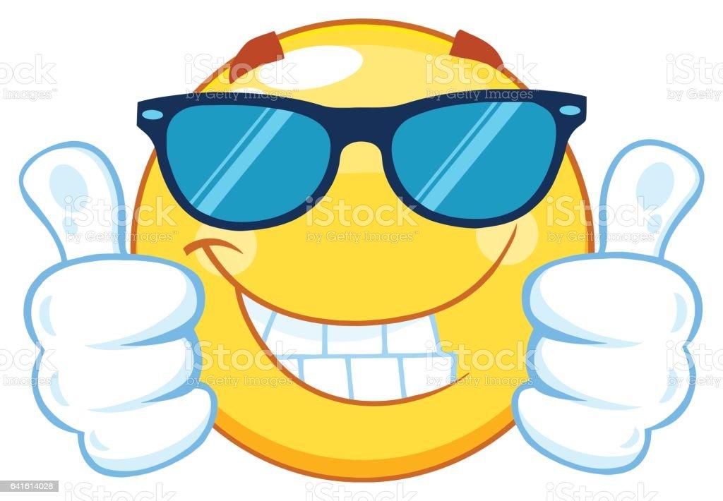 Sonriente emoticono amarillo personaje mascota de dibujos - Emoticono gafas de sol ...