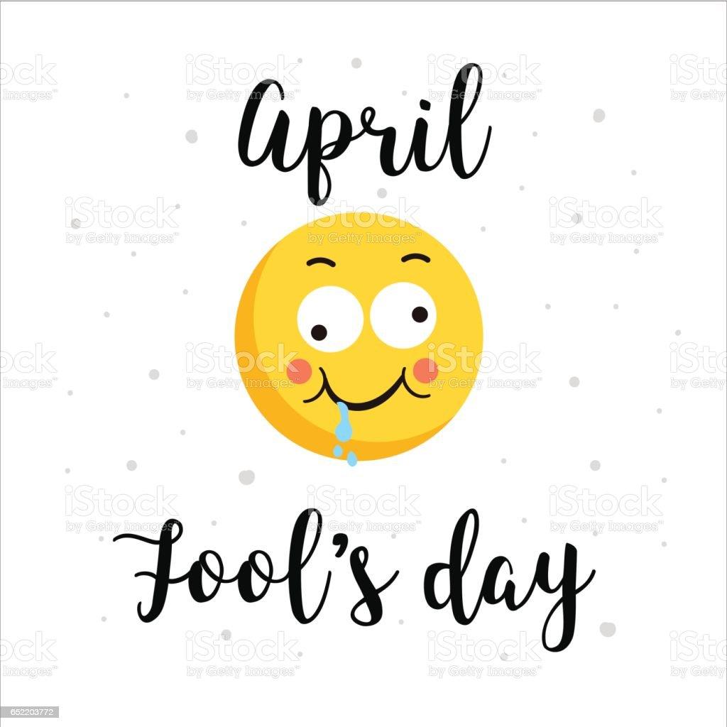 Lächelnde Gelbes Gesicht Und Farbe Hüpfen Briefe Formulieren April