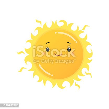 Smiling yellow sun emoji sticker isolated on white background. Smiley funny happy face with good expression, fine mood icon. Emoticons of summer design