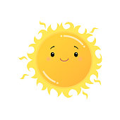 istock Smiling yellow sun emoji sticker isolated on white 1210997405