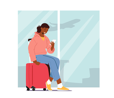 Smiling Young Female Character Sitting on Luggage Holding Smartphone in Hands Waiting Departure in Airport Terminal Area