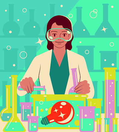 A smiling young female scientist or chemist is doing a scientific experiment and pouring liquid into a bottle with a big idea light bulb