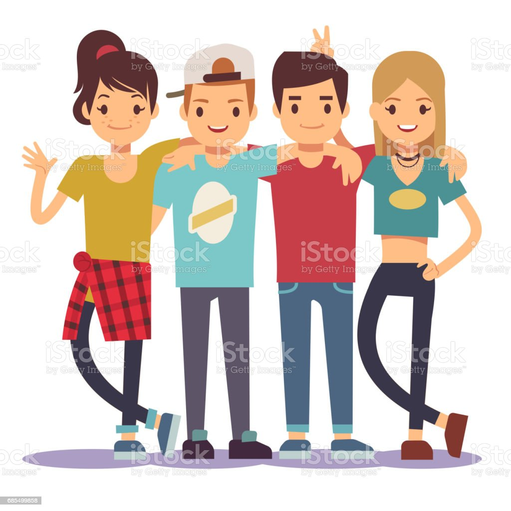 Smiling young hugging friends. Adolescentes friendship vector concept - illustrazione arte vettoriale