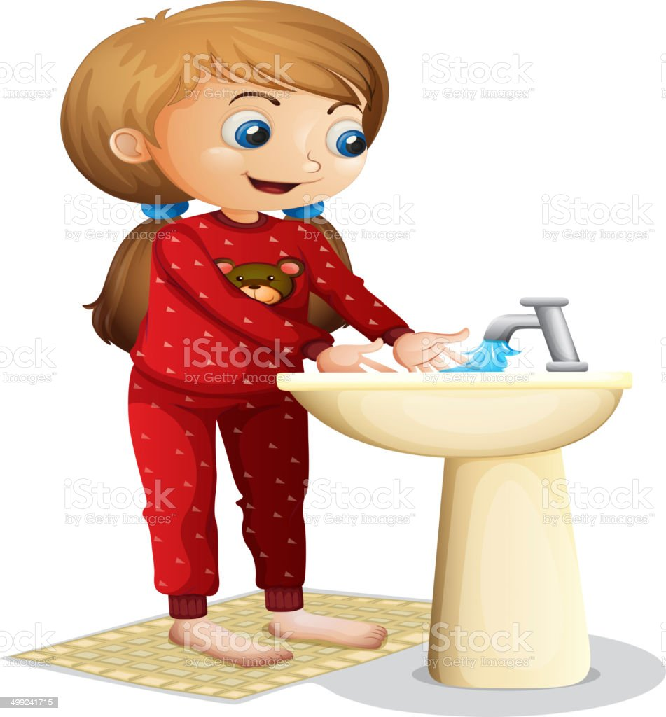 Smiling young lady washing her face royalty-free stock vector art