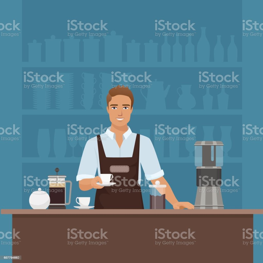 A smiling young man barista preparing coffee with coffee-machine vector art illustration