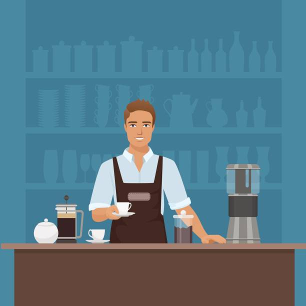 a smiling young man barista preparing coffee with coffee-machine - barista stock illustrations, clip art, cartoons, & icons
