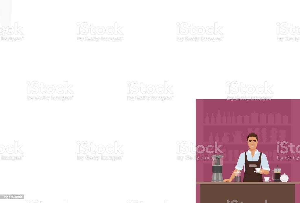 A smiling young man barista preparing coffee with coffee-machine vector in cafe restaurant. - ilustración de arte vectorial
