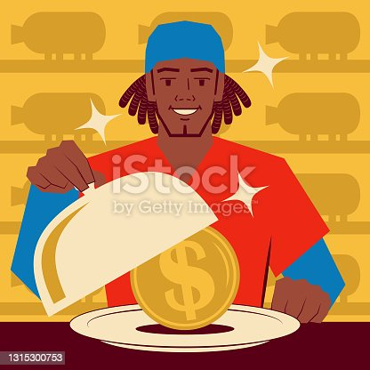 istock Smiling young man with afro hairstyle taking the lid off a domed tray that has a US Dollar currency inside. Piggy Bank Background 1315300753