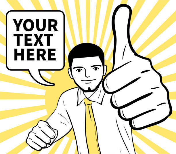 Smiling young man (businessman) with the crewcut showing Thumbs Up (Good Job!) hand sign vector art illustration