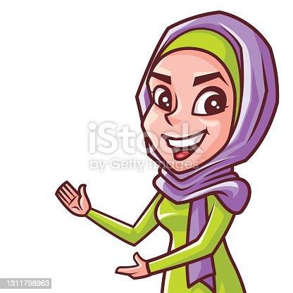 istock Smiling young muslim woman character in hijab presenting something on her empty palm and pointing at it on empty white space 1311798963