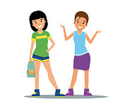 Vector of young women in casual clothes standing and smiling. Casual style, teenagers, friends. Women concept. Can be used for topics like lifestyle, fashion, youth