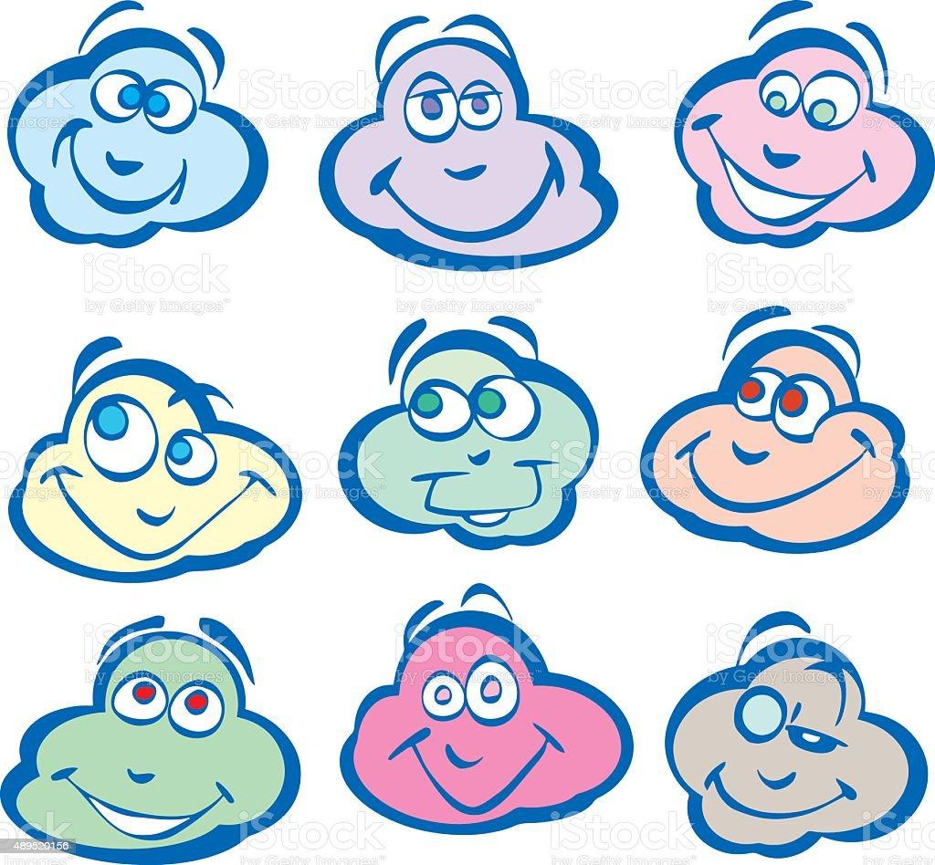 Smiling_Clouds vector art illustration