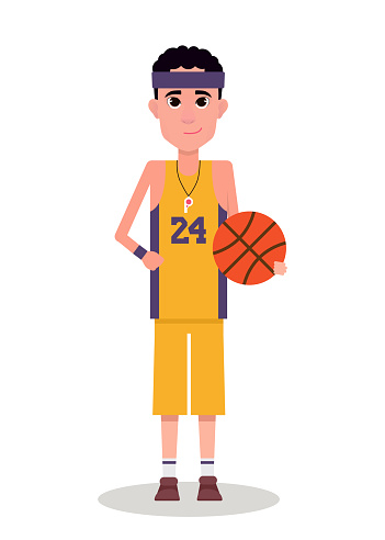 Smilling basketball player in uniform with ball isolated on white background. Cartoon vector illustration