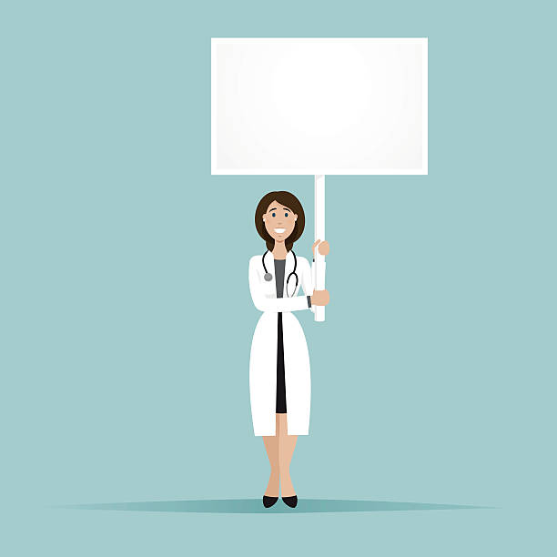 smilling doktor stay and hold a square billboard - smileys zum kopieren stock-grafiken, -clipart, -cartoons und -symbole