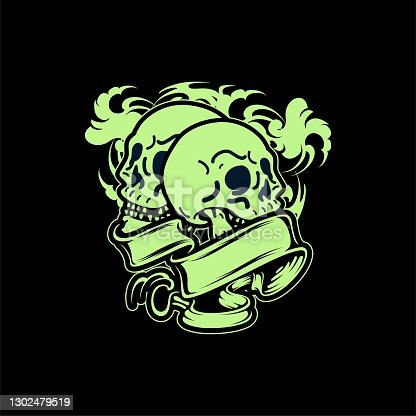 istock Smilling Green Skull Tattoo And T-shirt Apparel Design Illustration 1302479519