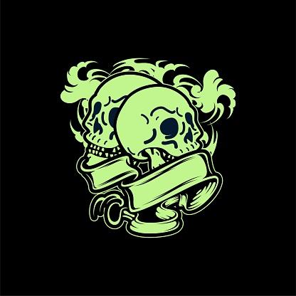 Smilling Green Skull Tattoo And T-shirt Apparel Design Illustration
