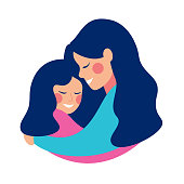Side view of smilling young mother embracing her daughter with love. Vector illustration isolated from white