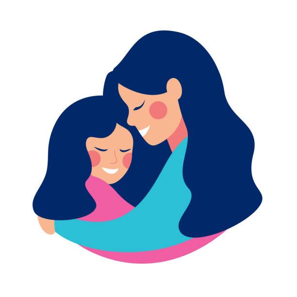 ilustraciones, imágenes clip art, dibujos animados e iconos de stock de smilling joven madre abrazando a su hija con amor - hija
