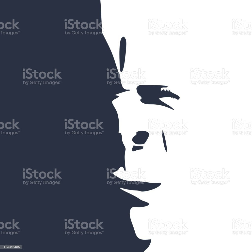 Smirking face silhouette vector art illustration