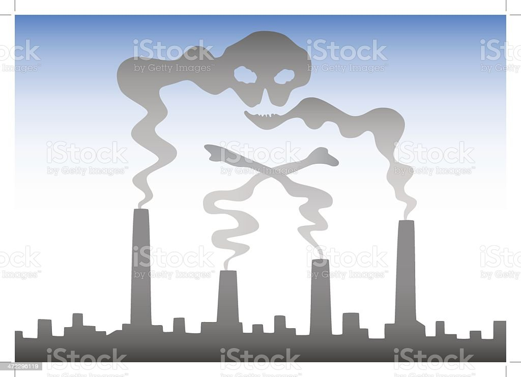 Smog forming skull royalty-free stock vector art