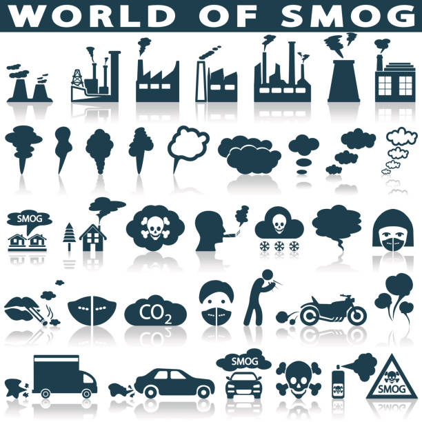 Smog, pollution icons set Smog, pollution icons set - ecology, environment concept smog stock illustrations