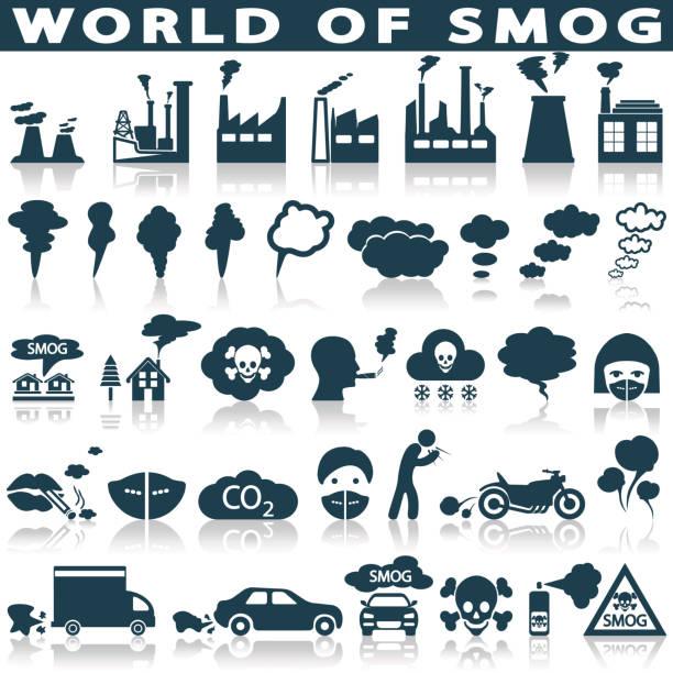 stockillustraties, clipart, cartoons en iconen met smog, verontreiniging pictogrammen instellen - smog