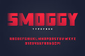 Smoggy heavy display font design, alphabet, typeface, letters an