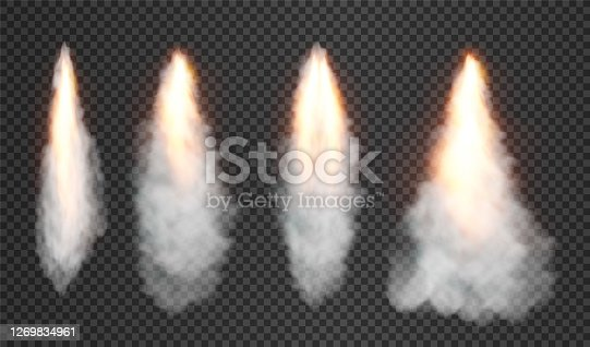 Smoke and fire from space rocket launch. isolated on transparent background. Vector illustration.