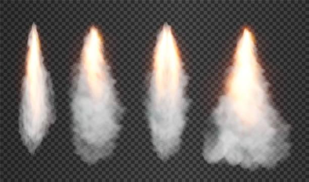 rauch und feuer aus weltraumraketenstart. auf transparentem hintergrund isoliert. vektor-illustration. - rakete stock-grafiken, -clipart, -cartoons und -symbole