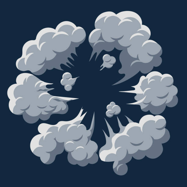 smoke cloud explosion. dust puff cartoon frame vector - smoke stock illustrations