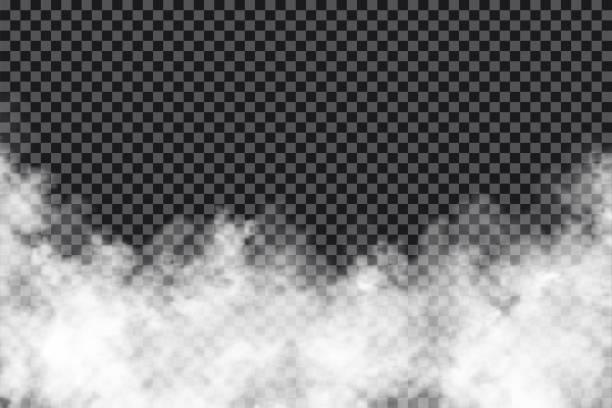 chmury dymu na przezroczystym tle. realistyczna mgła lub mgła tekstura izolowana na tle. efekt przezroczystego dymu - efekty fotograficzne stock illustrations